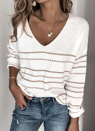 V-Neckline Stripe Casual Loose Regular Shift Sweaters (5144303)