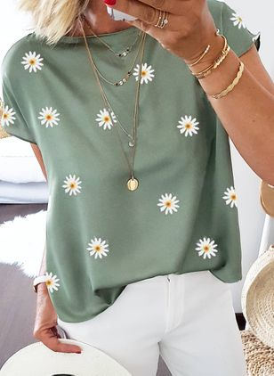 Floral Casual Round Neckline Short Sleeve Blouses (4074169)