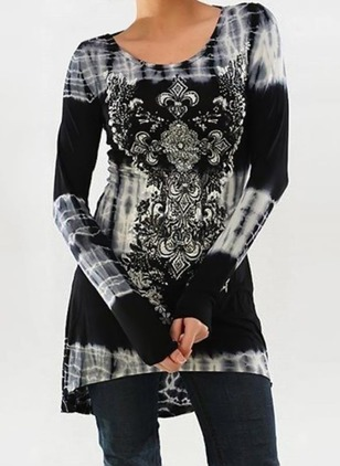 Cotton Floral Round Neck Long Sleeve T-shirts