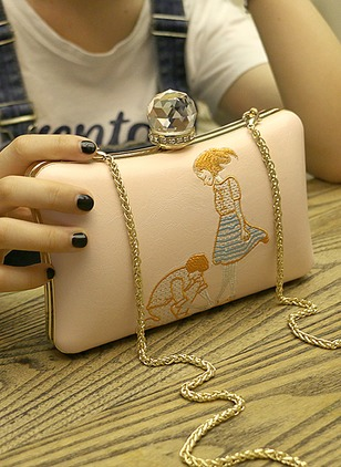 Clutches Fashion PU Rhinestone Chain Bags
