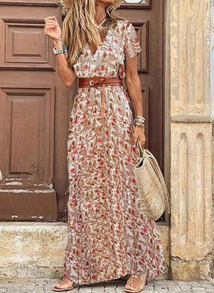 Casual Floral V-Neckline Maxi X-line Dress (4072559)
