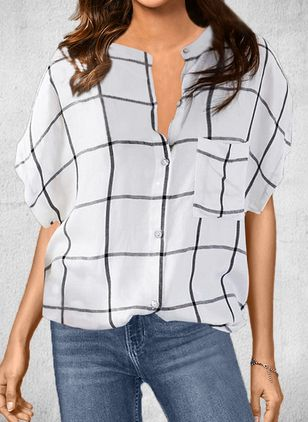 Check Casual V-Neckline Short Sleeve Blouses (1518560)