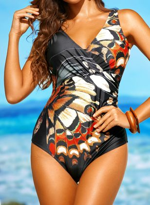 Polyester Pattern One-piece Swimwear (1496677)