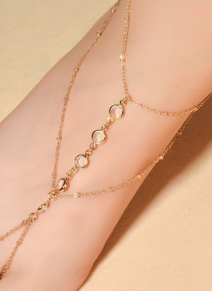No Stone Geometric Cross Round Anklet