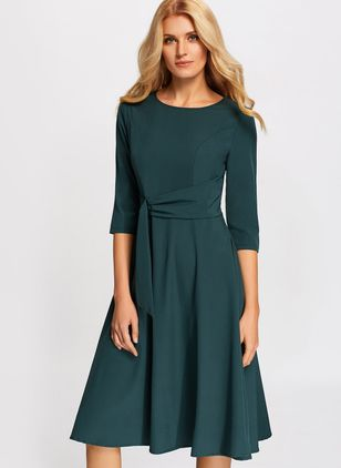 Solid Ruffles 3/4 Sleeves Midi X-line Dress