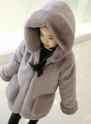 Girls' Solid Stand Collar Coats