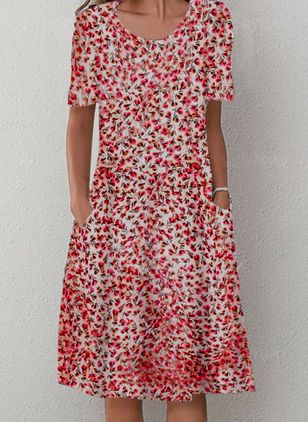 Casual Floral Shirt Round Neckline A-line Dress (4074196)