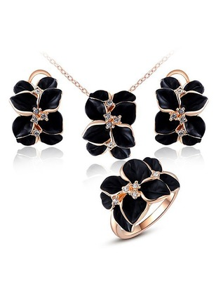 Floral Round No Stone Necklace Earring Ring Jewelry Sets
