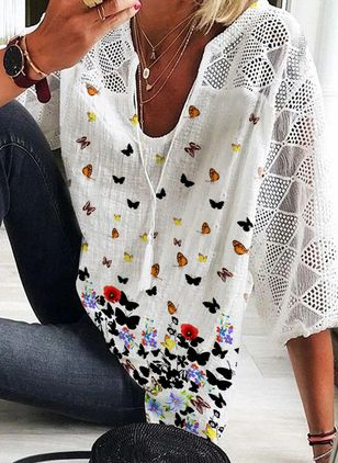 Animal Casual V-Neckline 3/4 Sleeves Blouses (4047057)