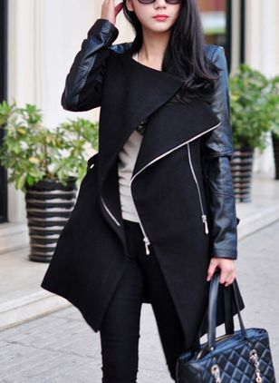 Long Sleeve Collar Zipper Coats