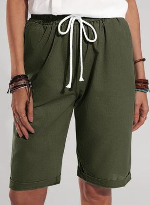 Casual Loose Pockets Mid Waist Polyester Shorts (147192254)