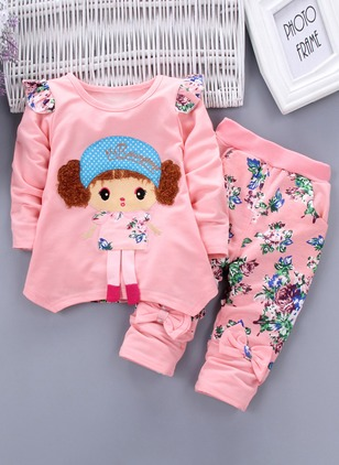 Girls' Floral Daily Long Sleeve Clothing Sets
