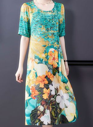 Casual Floral Tunic Round Neckline A-line Dress (101246539)