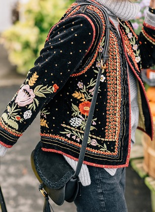 Long Sleeve Other Embroidery Coats
