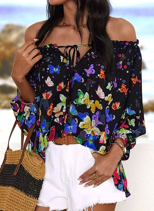 Animal Casual Off the Shoulder 3/4 Sleeves Blouses (6047233)
