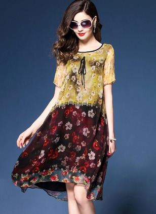 Floral Short Sleeve Shift Dress