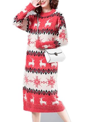 Animal Sweater Long Sleeve Midi Shift Dress