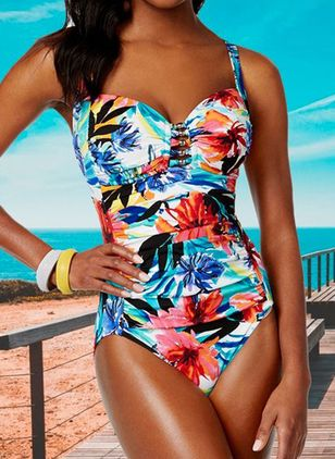 Polyester Floral One-piece Swimwear (147049318)