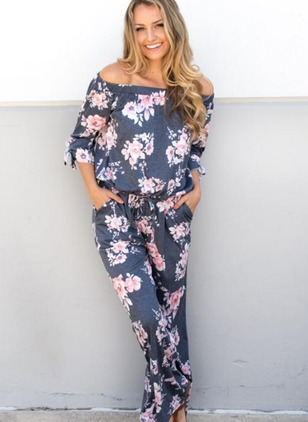 Polyester Floral 3/4 Sleeves Casual Jumpsuits & Rompers  ...