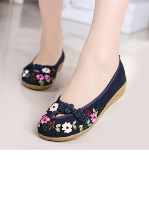 Embroidery Pumps Canvas Wedge Heel Shoes (1185847)