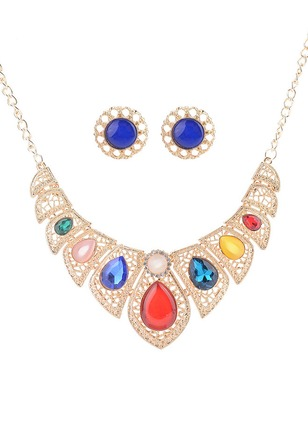Geometric Water Drop Round Crystal Necklace Earring Jewelry Sets