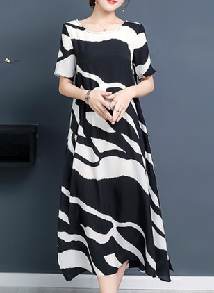 Chiffon Color Block Short Sleeve Midi Shift Dress (1213228)