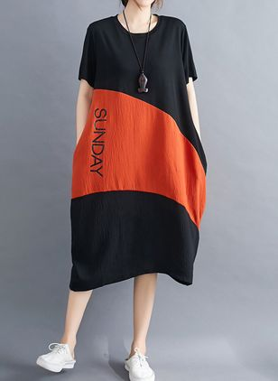 Casual Color Block Tunic Round Neckline Shift Dress (4355684)