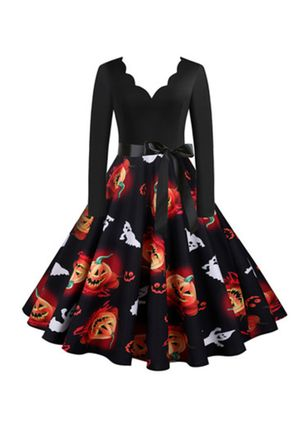 Halloween Color Block V-Neckline Midi X-line Dress (111607812)