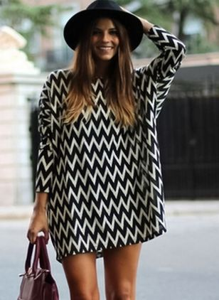 Geometric 3/4 Sleeves Above Knee Shift Dress