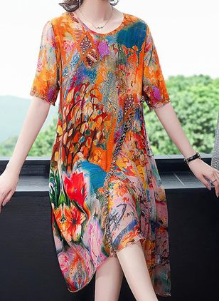 Casual Floral Tunic Round Neckline Shift Dress (100546598)