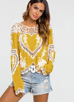 Color Block Lace Round Neckline Long Sleeve Blouses