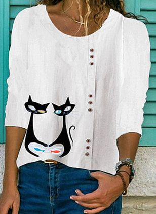 Animal Casual Round Neckline 3/4 Sleeves Blouses (1492660)