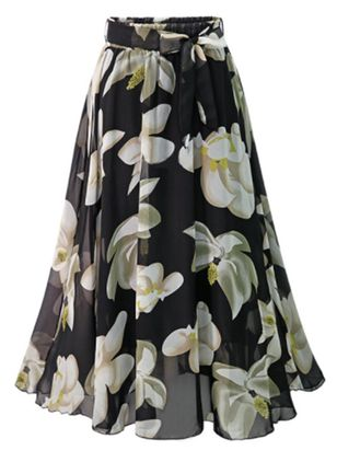 Floral Maxi Casual Pattern Sashes Skirts (147152049)