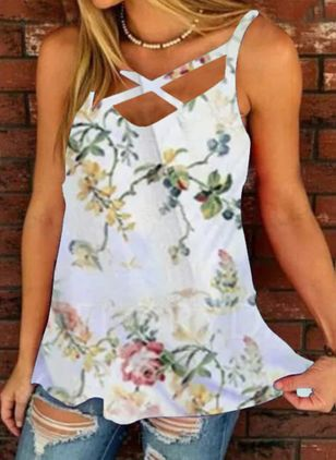 Floral Casual Camisole Neckline Sleeveless Blouses (147193262)