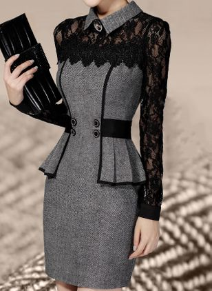 Elegant Collar Long Sleeve Above Knee X-line Dress (1034644)
