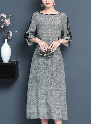 Color Block Lace 3/4 Sleeves Midi Sheath Dress