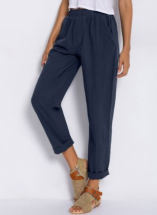 Casual Straight Pockets Mid Waist Cotton Pants (1233408)