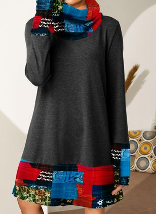 Casual Color Block Tunic High Neckline Shift Dress (100038146)