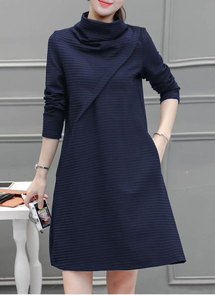Wool Solid Long Sleeve Above Knee Dresses