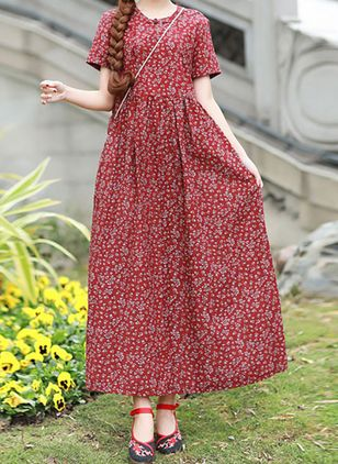Casual Floral Tunic Round Neckline A-line Dress (100001986)