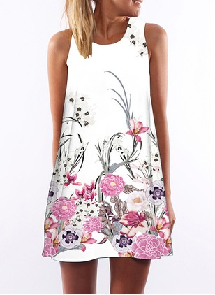 Cotton Floral Sleeveless Above Knee Casual Dresses  ...