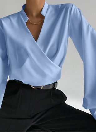 Solid Casual V-Neckline Long Sleeve Blouses (147137607)