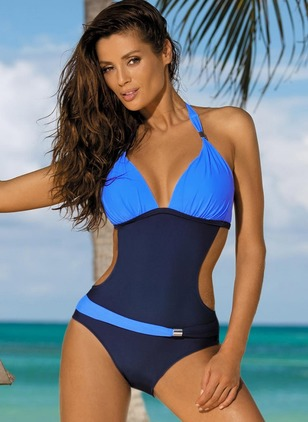 Polyamide Halter Color Block One-piece Swimwear