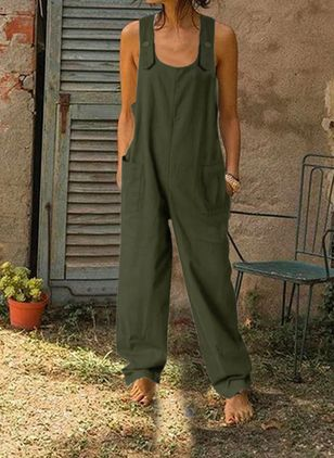 Casual Loose Buttons Pockets Mid Waist Polyester Jumpsuits (147193608)