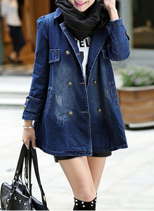 Long Sleeve Collar Pockets Denim Jackets