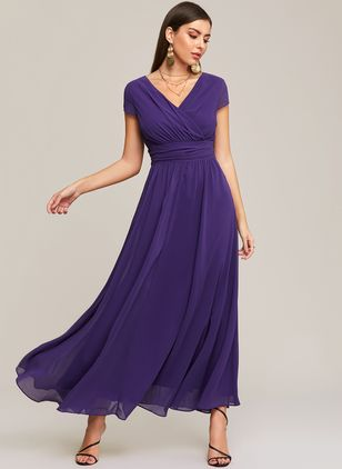 Solid V-Neckline Cap Sleeve Maxi A-line Dress (1202134)