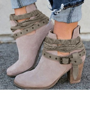 Buckle Closed Toe Nubuck Chunky Heel Shoes (1237327)