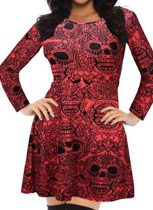 Halloween Geometric Skater Round Neckline X-line Dress (111109516)
