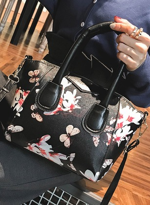 Shoulder Totes PU Print Double Handle Bags