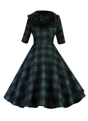 Plaid Buttons Skater Above Knee A-line Dress